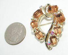 Vintage Lisner Rootbeer AB Rhinestone Brooch Pin Costume Jewelry | eBay