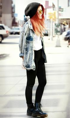 denim jacket, black leggings, docs, white tee