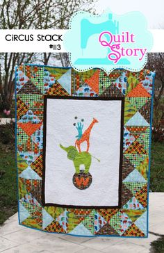 Circus Stack PDF Quilt Pattern elephant giraffe by QuiltStory, $9.00