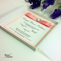 Elegant Pink Boxed Wedding Invitation 25 Card by Beyazfikirler