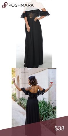Maxi Dress With Lace Detail Maxi dress looks chic but is so comfy. Off the shoulder. Features lace detail on the midsection and chiffon ruffle sleeves Boutique Dresses Maxi