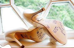 """""""In Turkey, before the bride walks down the aisle, she asks her single bridesmaids and relatives to sign the sole of her bridal shoes. After a night of dancing and prancing, tradition states that the person's signature who has faded the most will be the next to marry. """""""