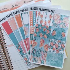 """Floral Planner Sticker Weekly Full Kit """"Elisabeth"""", Peach, Teal, Green, Coral, Vertical Erin Condren Style Stickers, Happy Planner"""