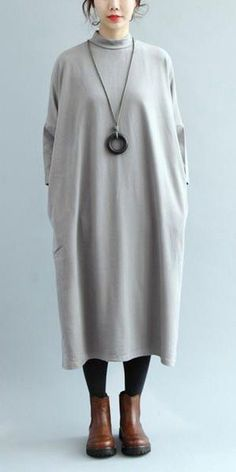 COTTON LOOSE BASE DRESS, WOMEN SIMPLE LONG DRESS Q7126