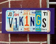 VIKINGS - Minnesota Vikings - custom Football license plate signs License Plate Crafts, Cool License Plates, License Plate Art, Football Crafts, Custom Football, Wire Hangers, Minnesota Vikings, Xmas Gifts, Fun Projects