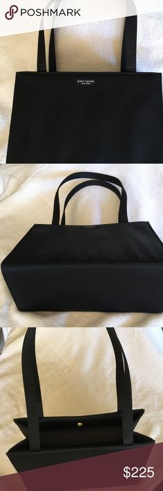 "Vintage original Kate Spade black nylon tote♠️ ♠️Large square 1994? original Kate Spade tote with gold magnetic clasp, a side anterior inner pocket! This fabulous find is rare because of the quality.  The outer material is nylon which repels lint, hair, dust any grime.  This is a large tote 11x8x4 with 11""handles!  I would be honored to sell this to a collector or a buyer who can appreciate that this bag has stood (literally) the test of time! Pic#1 it is standing alone! Structurally sound…"