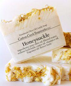 Honeysuckle Soap, Traditional Olive Oil Castile Soap, Sweet Floral Scent of Wild Honeysuckle, Vegan Bath Bar Homemade Face Moisturizer, Homemade Skin Care, Pure Olive Oil, Soap Making Supplies, Homemade Soap Recipes, Soap Packaging, Soap Labels, Castile Soap, Glycerin Soap