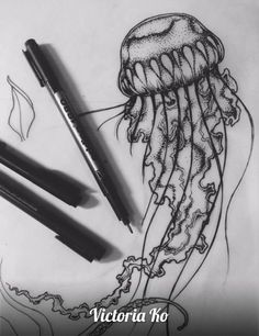 Jellyfish tattoo on sketch (on paper) by Victoria Ko