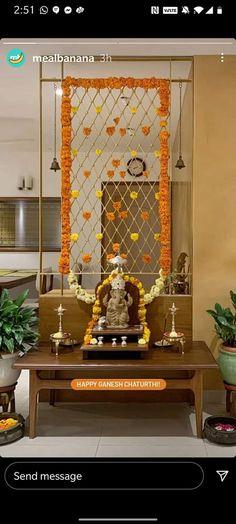 Ganesh Idol, Happy Ganesh Chaturthi, Messages, Mirror, Decoration, Ideas, Home Decor, Comic, Decor
