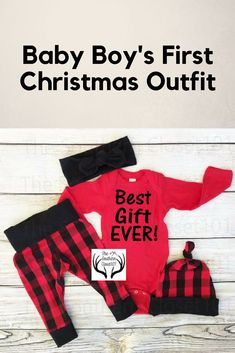 Baby Christmas Outfit, Unisex ,Best Gift Ever! ,Babies First Christmas Outfit,Girl Coming home outfit,Boy Coming Home Outfit,Black,Red,Plaid #affiliate
