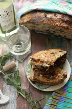 Grilled Goat Cheese w/ Tomato & Tarragon on Olive Bread + No-Knead Olive Bread {#SundaySupper} - girlichef