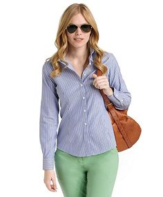 Petite Non-Iron Tailored Fit Bengal Stripe Dress Shirt with DOW XLA™