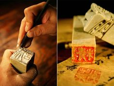 This is a picture of a seal in the process of being engraved and the finished product. Stamps/seals like this are an integral part of chinese literary culture.