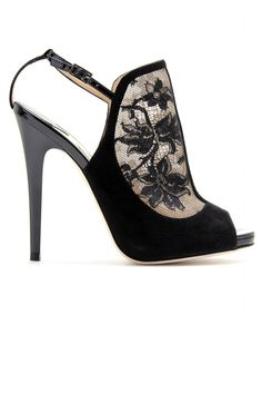 Jimmy Choo Maylen lace and suede pumps.