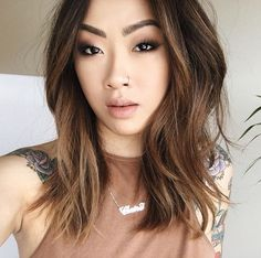 Hair cut/color asian balayage, balayage hair, bayalage, medium hair s Balayage Asian Hair, Hair Color Balayage, Hair Bayalage, Asian Ombre Hair, Medium Hair Cuts, Medium Hair Styles, Short Hair Styles, Bob Styles, Claire Marshall