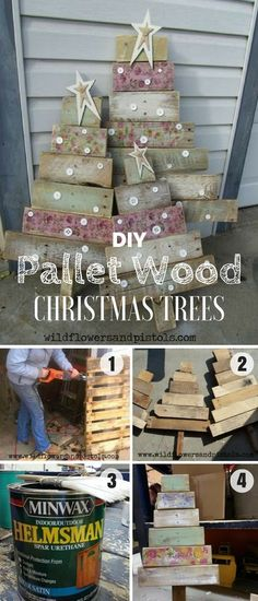 Christmas DIY: Check out how to bui Check out how to build these easy DIY Pallet Wood Christmas Tree Industry Standard Design Christmas Tree Design, Pallet Wood Christmas Tree, Christmas Decorations, Christmas Trees, Christmas Projects, Holiday Crafts, Holiday Decor, Diy Simple, Easy Diy