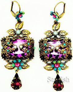Michal Negrin Vintage Style Purple Stone Noa Earrings