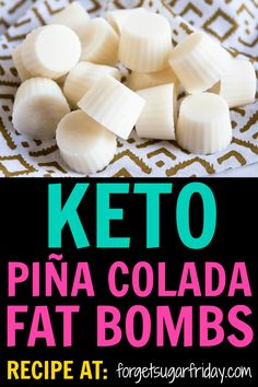 YUM! The taste of these Piña Colada Keto Fat Bombs will transport you straight to a sunny beach. With only four ingredients, this easy keto recipe will give you a boost of fat and energy, plus they'll squash your sugar cravings! If you're looking for your next favorite keto fat bomb recipe, you've found it! #keto #ketorecipes #fatbombs #ketodiet #ketogenic #lchf via @fsugarfriday