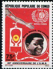 Francobolli - Donazione e trasfusione di sangue - Blood donation and transfusion Congo 1989