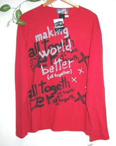 Desigual Red Cotton Mens Long Sleeve Typography Design Shirt Sweater Size 2X L #Desigual #Crewneck