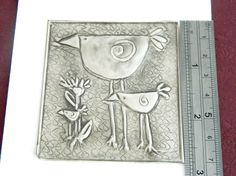 Embellishment Pewter Embossed Bird Family Motif by Loutul on Etsy