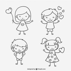 Over a million free vectors, PSD, photos and free icons. Doodle Drawings, Cartoon Drawings, Easy Drawings, Doodle Art, Drawing For Kids, Art For Kids, Quilled Creations, Stick Figures, Valentines For Kids