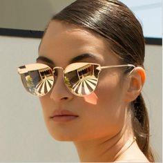 6b531fa5b7 Arrow Shapes Brand Designer Rose Gold Women Mirror Cat eye Sunglasses Metal  Nose pad Vintage Cateye Wholesale Price. Quay Australia ...