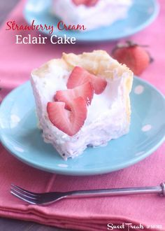 Strawberry Cream Eclair Cake