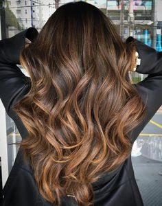 Long Caramel Balayage For Brunettes
