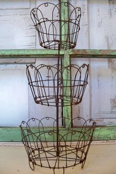 Rusty wire baskets three tiered metal display by AnitaSperoDesign, $70.00