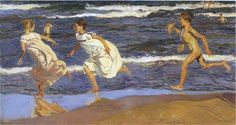 Running along the beach - Joaquín Sorolla -- Completion Date: 1908