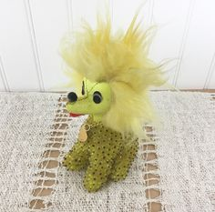Vintage Yellow Beaded Stuffed Dog 1970 Toy Collectible Poodle Kitsch Shabby Chic Cottage Decor Ugly Ornament Dr Seuss Creature by injoytreasures on Etsy