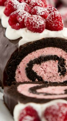 Raspberry Chocolate Swiss Roll ~ Decadent yet simple to make