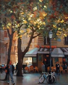 Afternoon Light on Rue St. Andre by Teresa Saia Pastel ~ 24 x 18