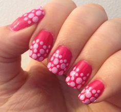 Breast Cancer Awareness Nail Art Pink Polka Dots