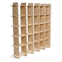 Mid-century 25 Cube Raw Baltic Birch Storage Bookcase