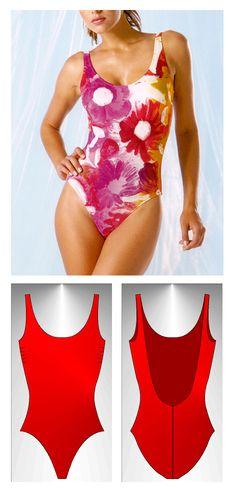 Free swimsuit pattern Creta1 size M/42 in PDF format - Patrón grátis de traje de baño Creta1 en talla M/42 en formato PDF