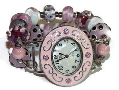 Lampwork in Pinks Beaded Watch - Interchangeable Watch - BeadsnTime - Unique Gift - Double Strand Watch - Stretch Watch - Teacher Gift