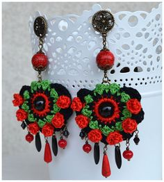 Black red gypsy earrings,statement ethnic earrings,big crochet boho…