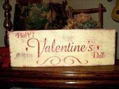 valentine primitives | Primitive Valentine Sign Handmade Happy Valentine's Day Shabby ...