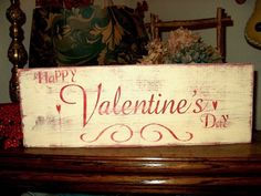 valentine primitives | Primitive Valentine Sign Handmade Happy Valentine's Day Shabby ...
