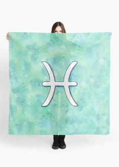 """Zodiac sign : Pisces"" Scarf by Savousepate on Redbubble #scarf #clothing #astrology #astrologicalsign #zodiacsign #aquarius #blue #turquoise #aqua #mint #white #watercolorpainting"