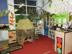 My jungle role play area.  The children loved creating this.