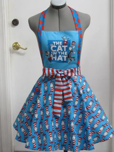 Cat in the Hat Apron Circle Party by AquamarsBoutique on Etsy, $45.00