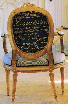 Carolyn Quartermaine French Script fabric Louis XVI chair