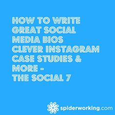 How To Write Great Social Media Bios, Clever Instagram Case Studies & More - The Social 7 Instagram Bio Clever, Social Media Tips, Social Media Marketing, Facebook Bio, Social Media Engagement, Case Study, Internet Marketing, Insight, Writing