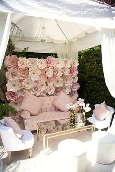 Lounge area + paper flower photo backdrop wall from a Pink Tutu Cute Themed Ballerina Baby Shower via Kara's Party Ideas | KarasPartyIdeas.com - The Place for All Things Party! (50) Baby Shower Decorations, Table Decorations, Decoration Party, Ballerina Baby Showers, Wedding Styles, Birthday, Cornelius, Ideas, Furniture