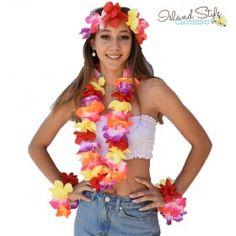 Lei SET multi-coloured | Hawaiian Floral Garland Necklace, Headpiece & Wristbands, luau fancy dress costume. Schoolies, Spring Break, O-Week.
