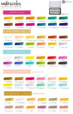 Color chart for Prima Watercolor Confections with color names for all sets