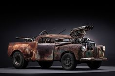 Photographer John Platt took these astonishing shots of the picture cars from Mad Max: Fury Road. Even out of their dusty element, they look absolutely menacing. Mad Max Fury Road, Rat Rod Pickup, Pickup Trucks, Diorama, Apocalypse, Monster Car, Death Race, Big Trucks, Custom Cars